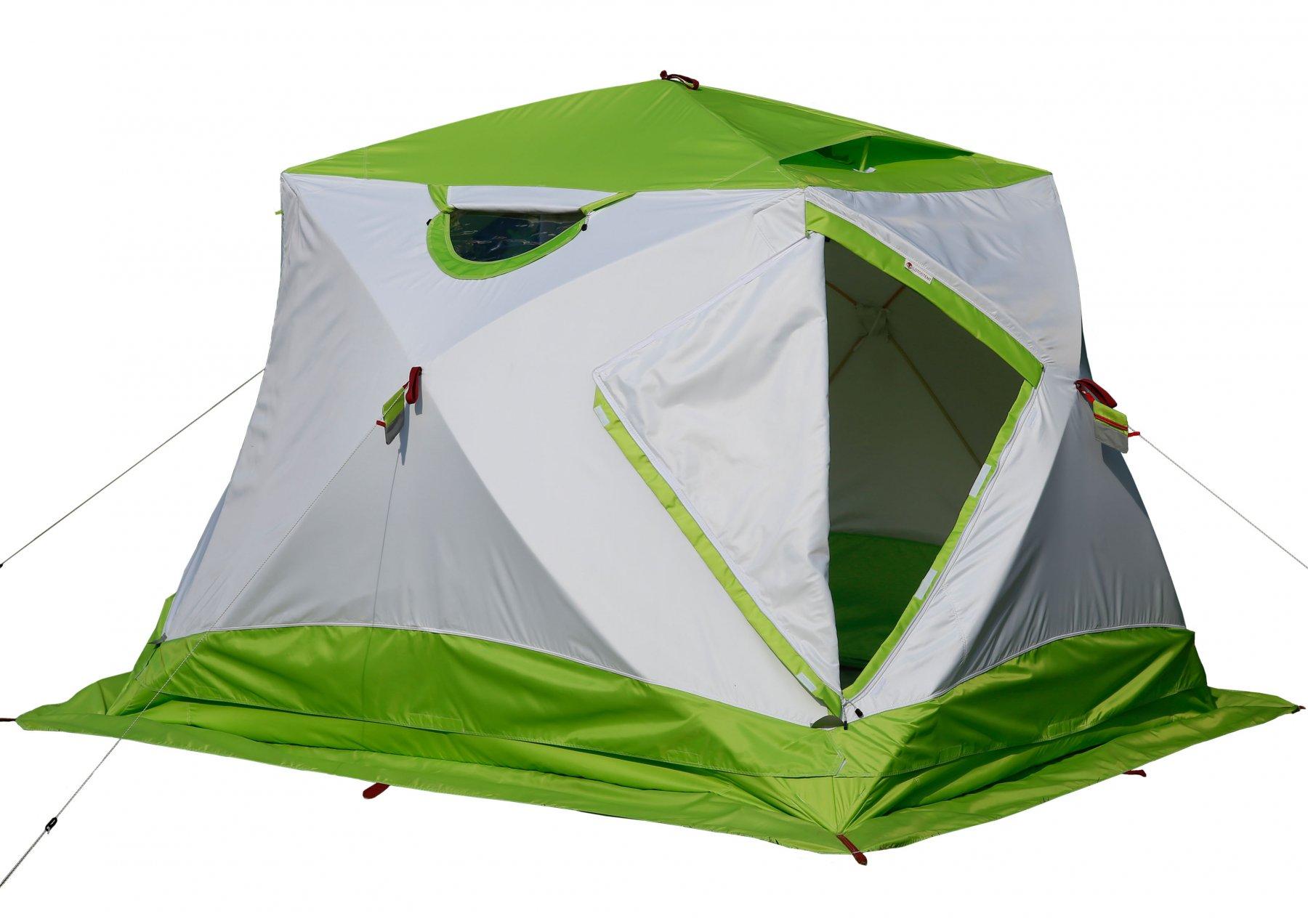 Утепленная трехслойная палатка ЛОТОС Куб 4 Компакт Термо (лонг) с системой компактного сложения