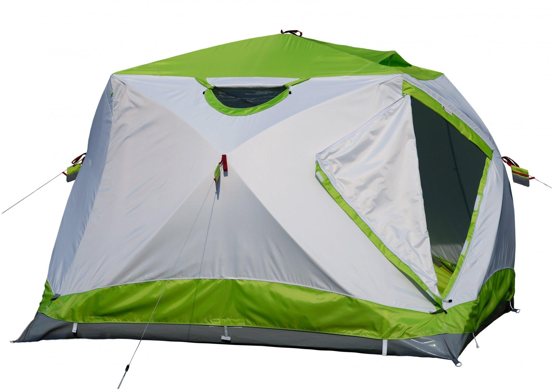 Утепленная трехслойная палатка ЛОТОС Куб 4 Компакт Термо (лонг) с системой компактного сложения и системой гидродна