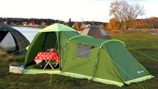 Летняя туристическая палатка ЛОТОС 3 Саммер с пристегнутым спальным модулем