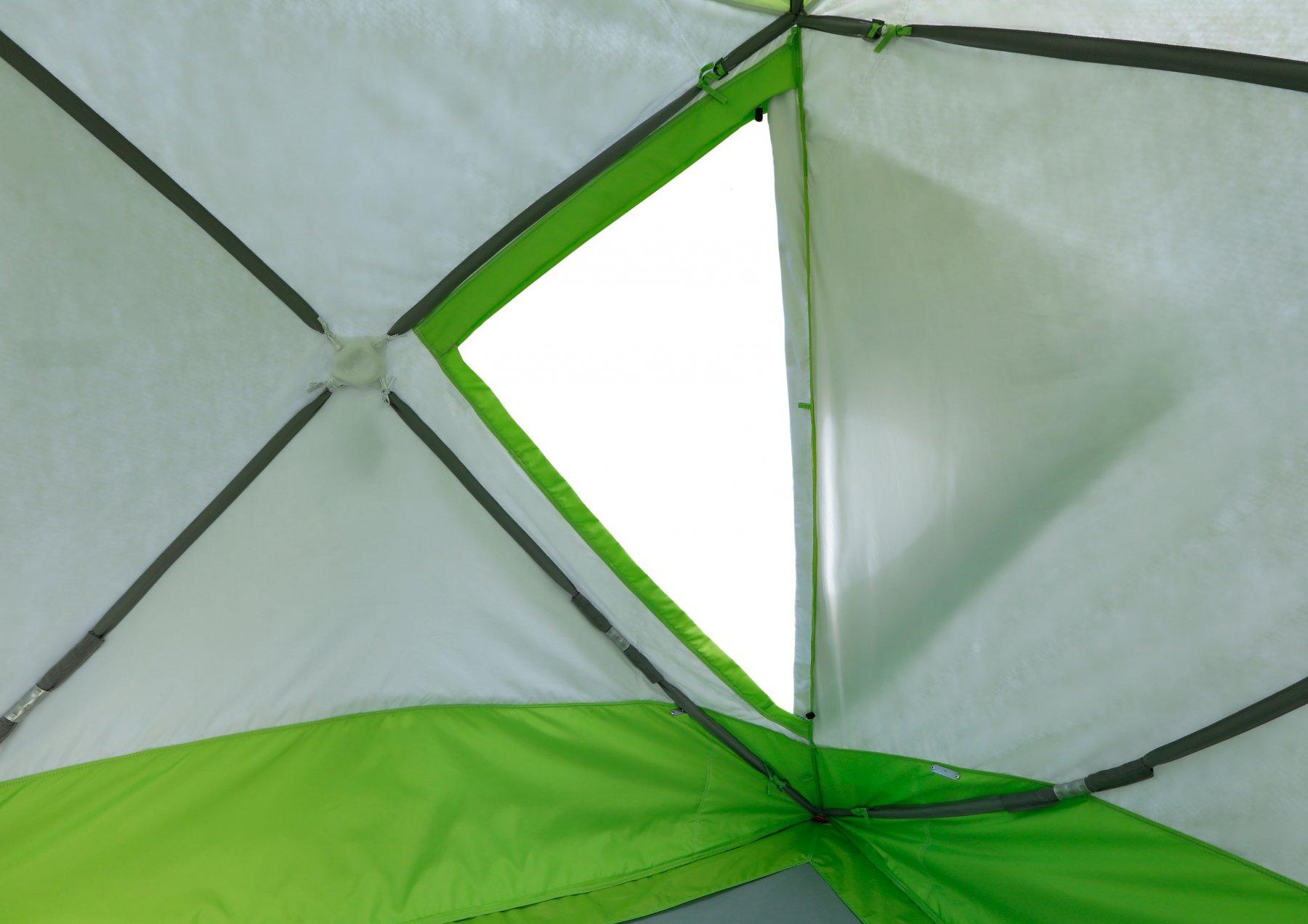 Утепленная палатка ЛОТОС Куб 4 Компакт Термо (лонг) с системой компактного сложения (вид изнутри, дверь)