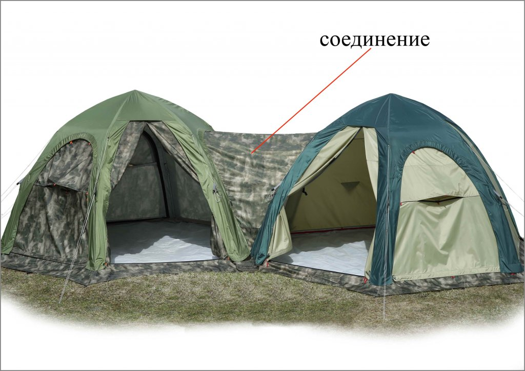 Модульные палатки ЛОТОС 5 Универсал присоединенные между собой посредством Соединения