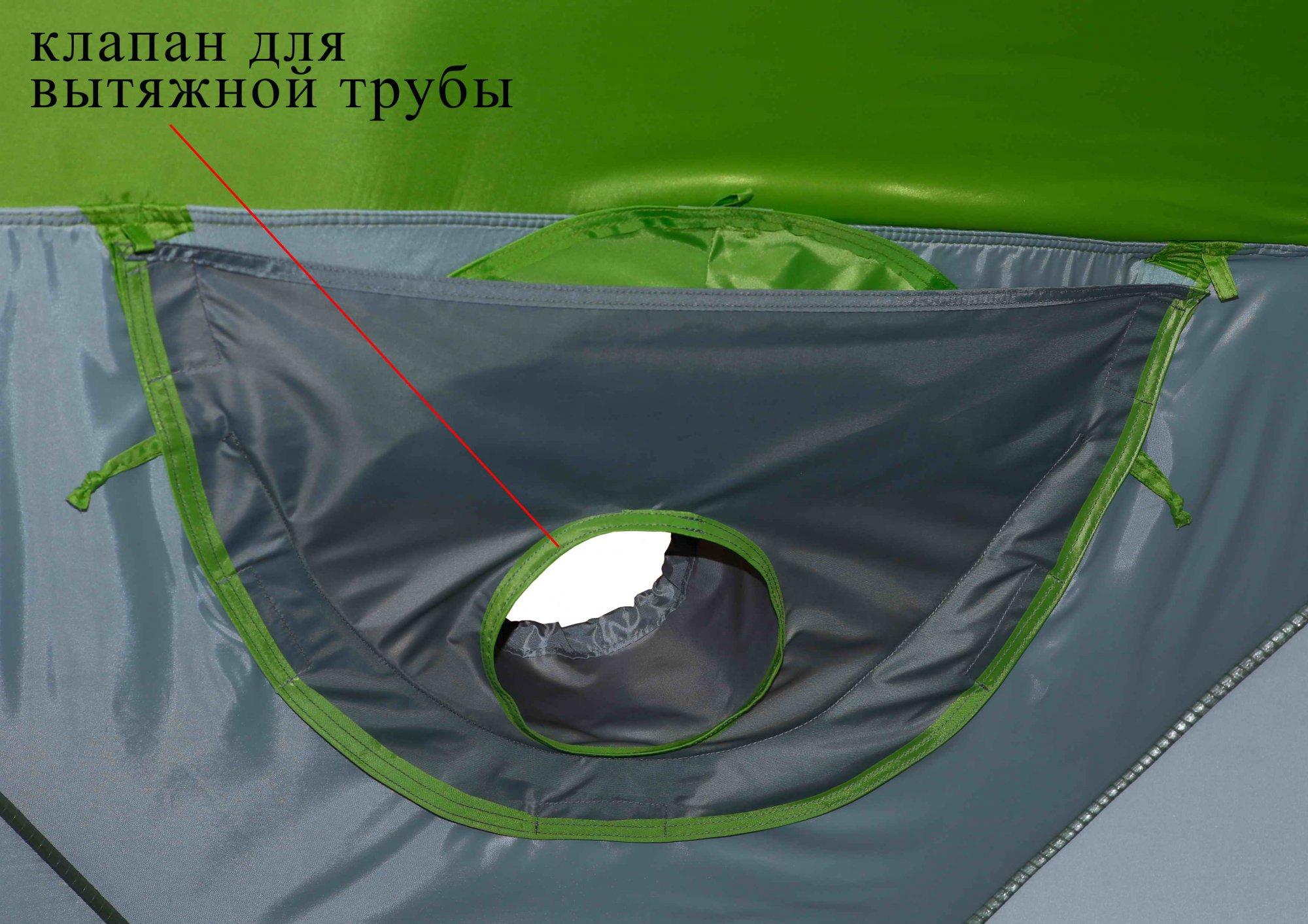 Зимняя палатка ЛОТОС Куб М2 Термо_съемный клапан для вытяжной трубы теплообменника, вид изнутри