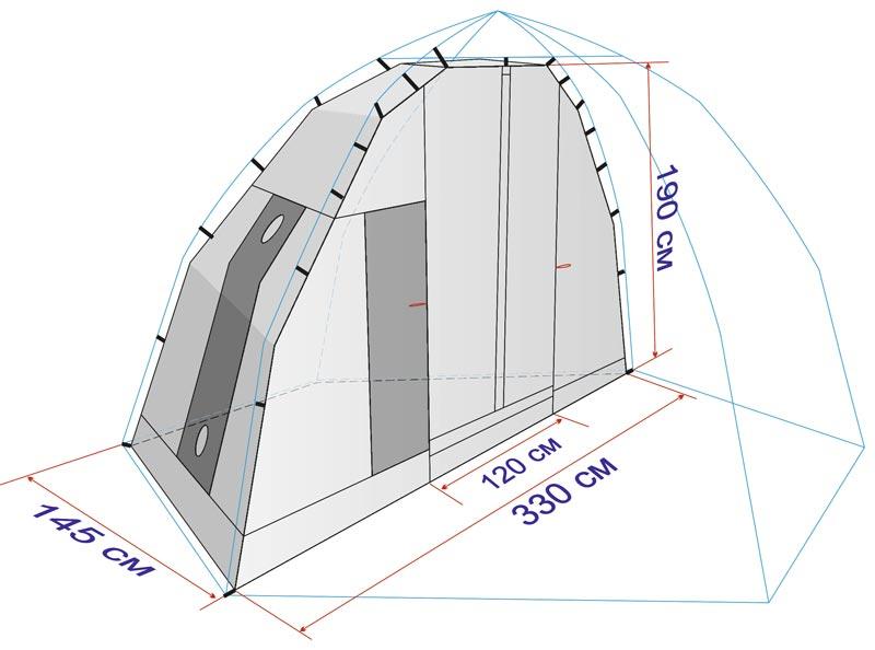 Схема внутреннего банного тента с размерами