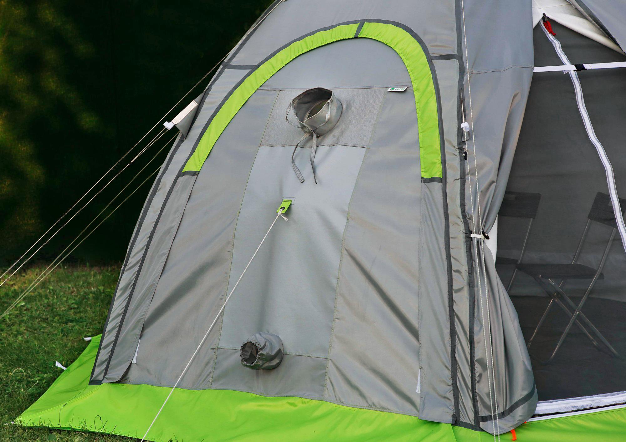 Стенка огнеупорная ЛОТОС 5 (кремнезем) установленная на универсальной палатке Лотос 5 Универсал Спорт