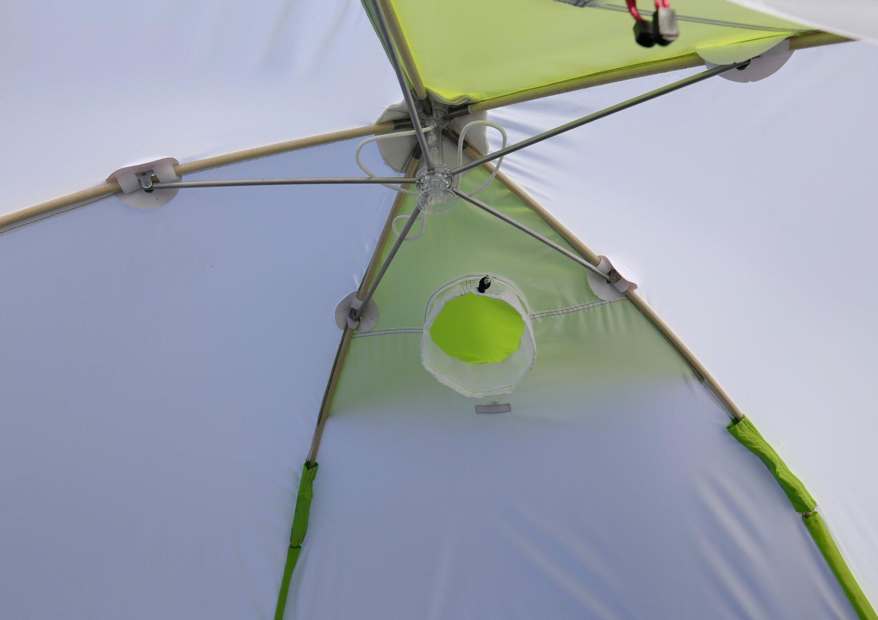 Полуавтоматическая зимняя палатка ЛОТОС 3С (механизм раскрытия)