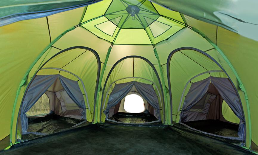 Летняя кемпинговая палатка ЛОТОС 5 Саммер с тремя спальными модулями (вид изнутри)