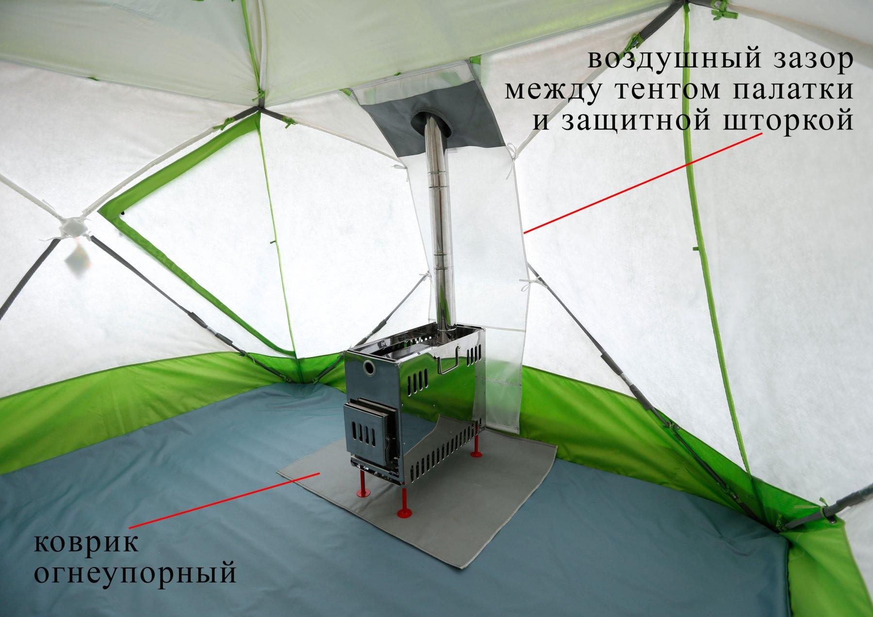 Утепленная палатка ЛОТОС Куб с печкой