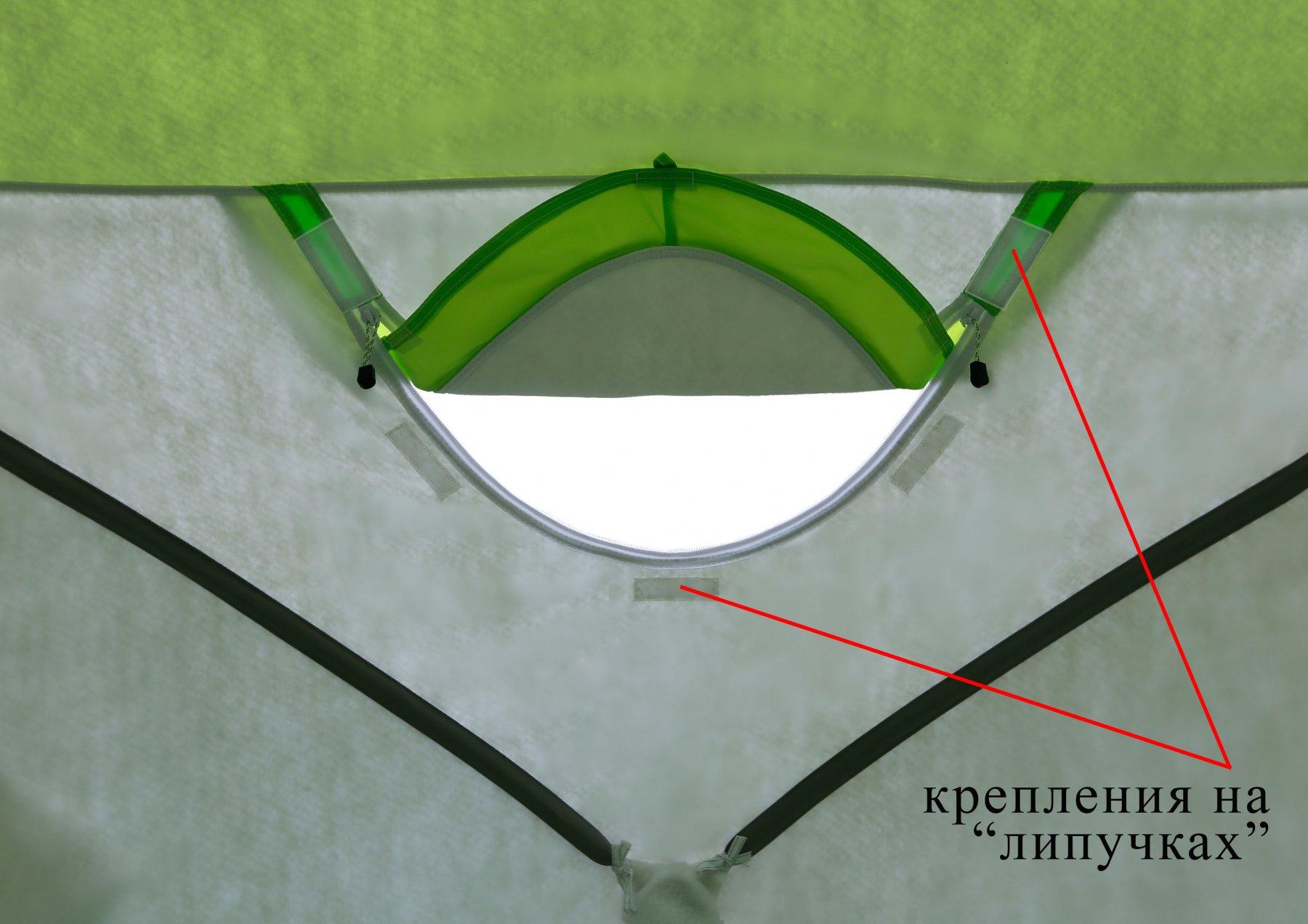 Утепленная палатка ЛОТОС Куб 4 Компакт Термо (лонг) с системой компактного сложения (вид изнутри, окошко)