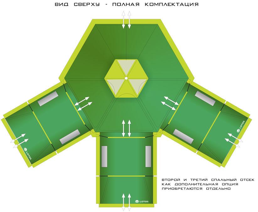 """СХЕМА - Палатка """"ЛОТОС 5 Саммер"""" с тремя присоединенными спальными палатками"""
