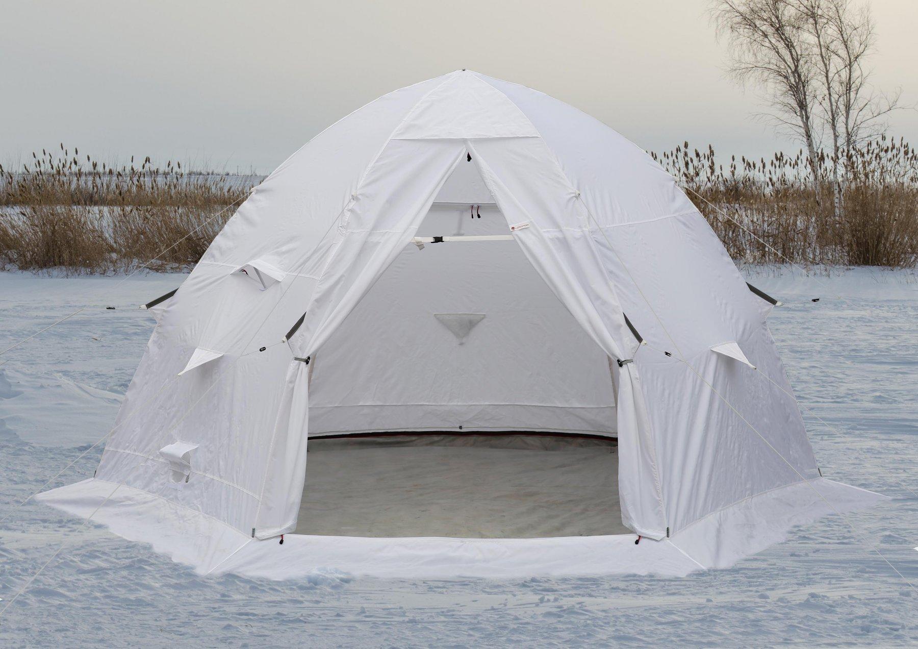 Зимняя камуфлированная палатка для охотника ЛОТОС 5С (белая)