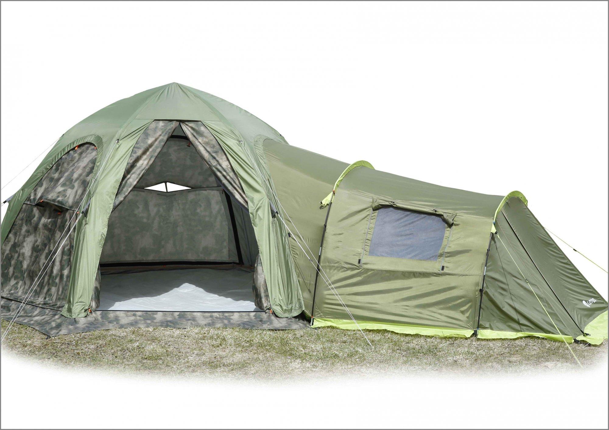 Туристическая палатка ЛОТОС 5 Универсал (кмф) с пристегнутой Спальной палаткой