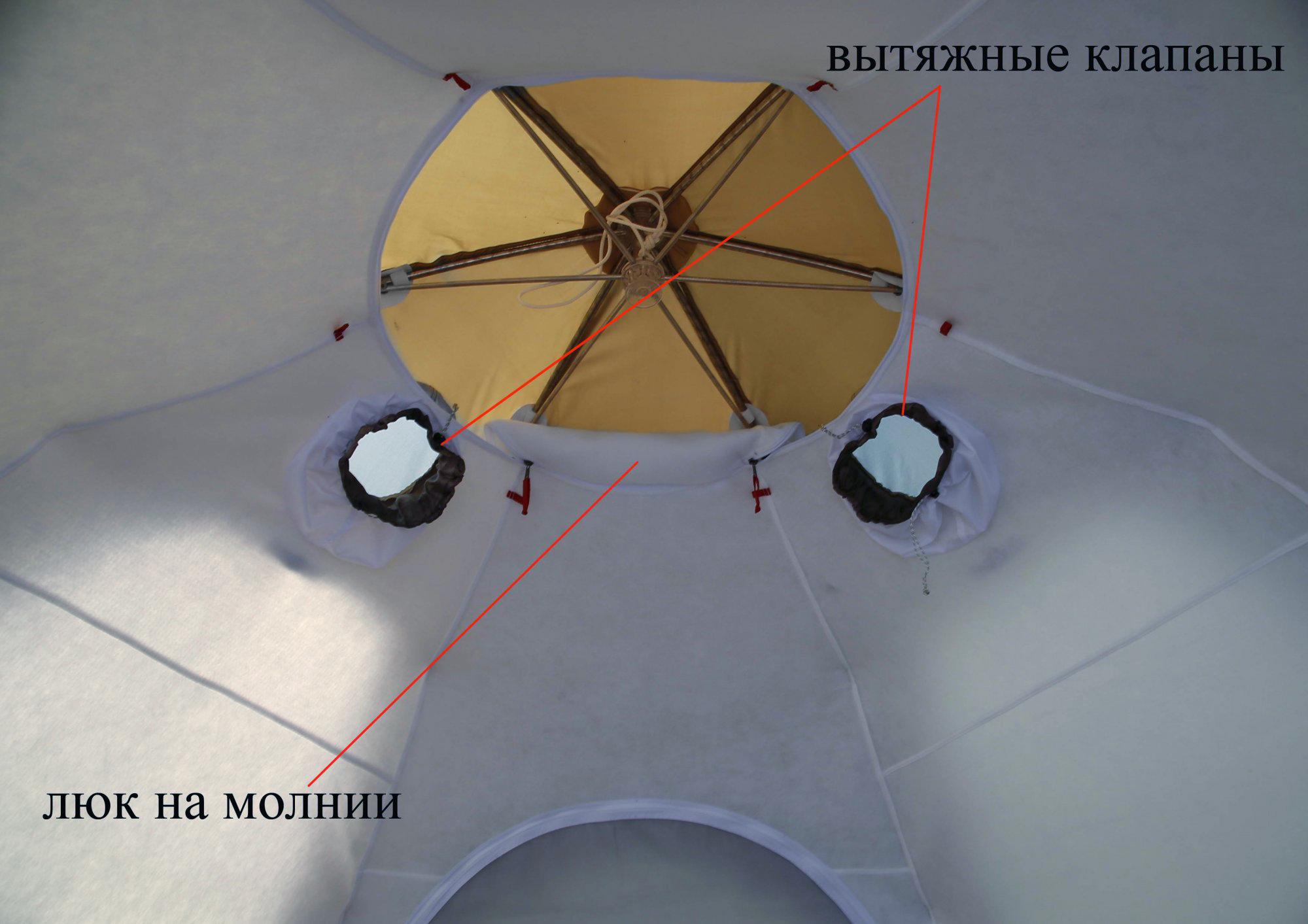 Внутренний тент-капсула утепленный ЛОТОС 5У (люк на молнии)