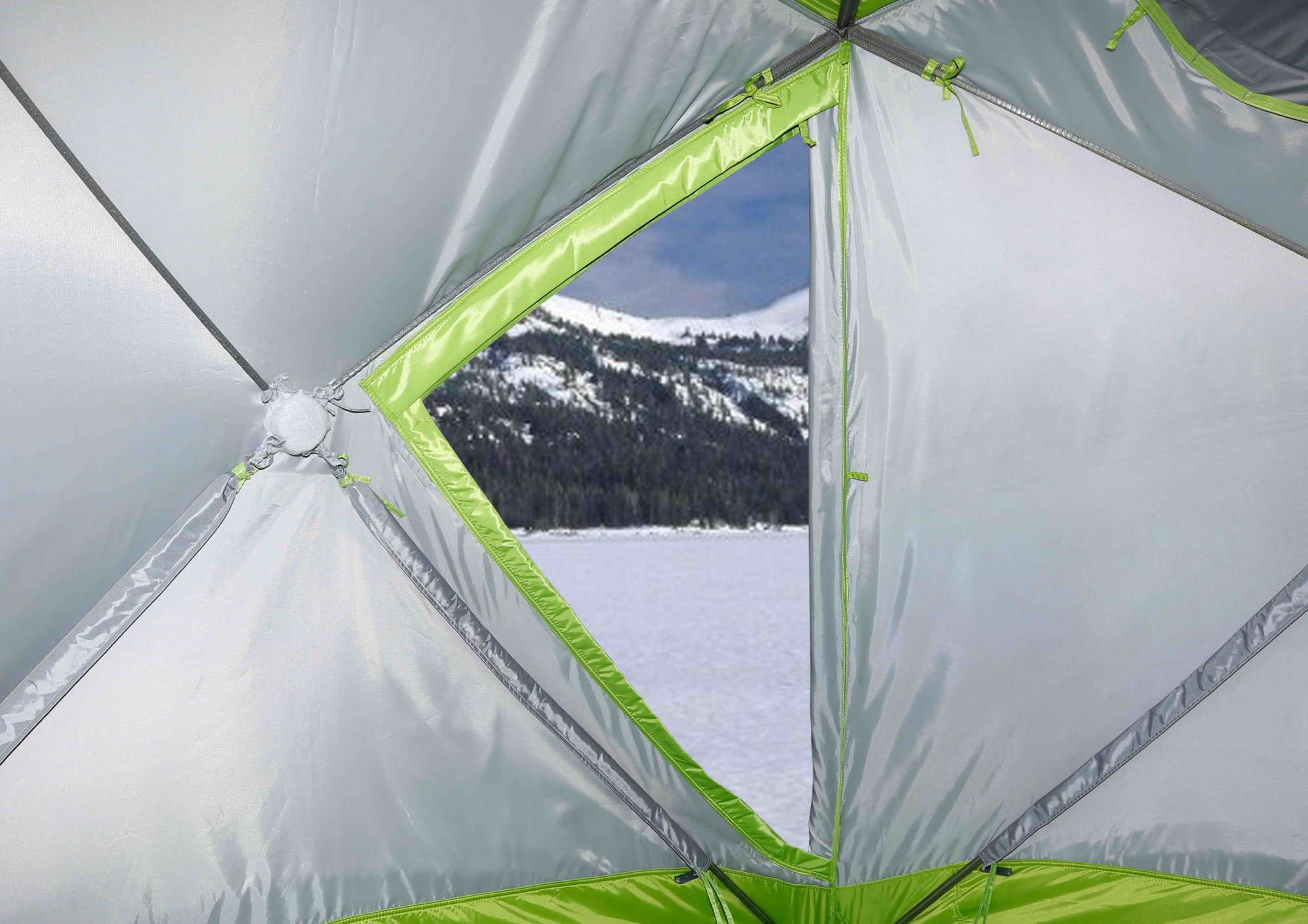 Зимняя палатка ЛОТОС Куб М2 Термо_дверь, вид изнутри
