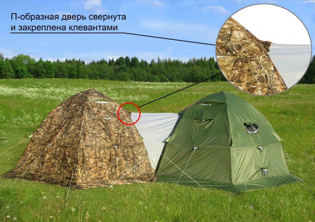 влагозащитный тент ЛОТОС 5У-1 установленный на палатках ЛОТОС 5 Универсал